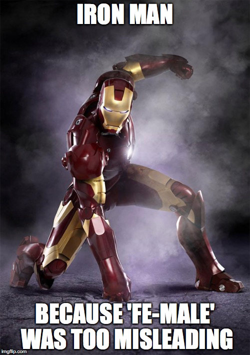 IRON MAN WARRIOR STRONG SELFLESS FEARLESS FIGHTER | IRON MAN BECAUSE 'FE-MALE' WAS TOO MISLEADING | image tagged in iron man warrior strong selfless fearless fighter | made w/ Imgflip meme maker