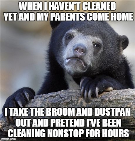Confession Bear Meme | WHEN I HAVEN'T CLEANED YET AND MY PARENTS COME HOME I TAKE THE BROOM AND DUSTPAN OUT AND PRETEND I'VE BEEN CLEANING NONSTOP FOR HOURS | image tagged in memes,confession bear | made w/ Imgflip meme maker