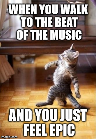 Feeling the beat | WHEN YOU WALK TO THE BEAT OF THE MUSIC AND YOU JUST FEEL EPIC | image tagged in memes,cool cat stroll,cats,animals,funny,epic | made w/ Imgflip meme maker
