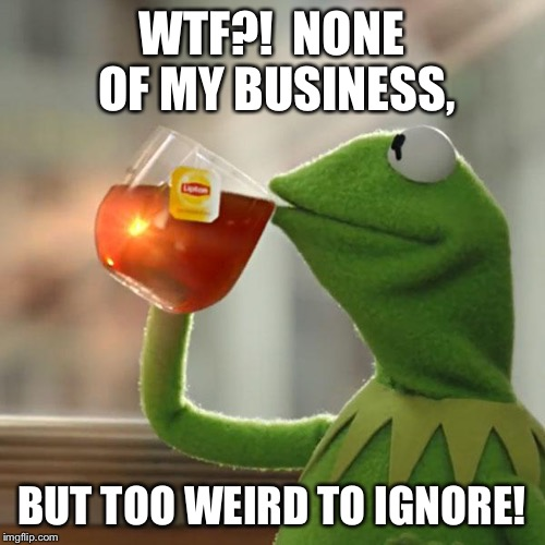 But Thats None Of My Business Meme | WTF?!  NONE OF MY BUSINESS, BUT TOO WEIRD TO IGNORE! | image tagged in memes,but thats none of my business,kermit the frog | made w/ Imgflip meme maker