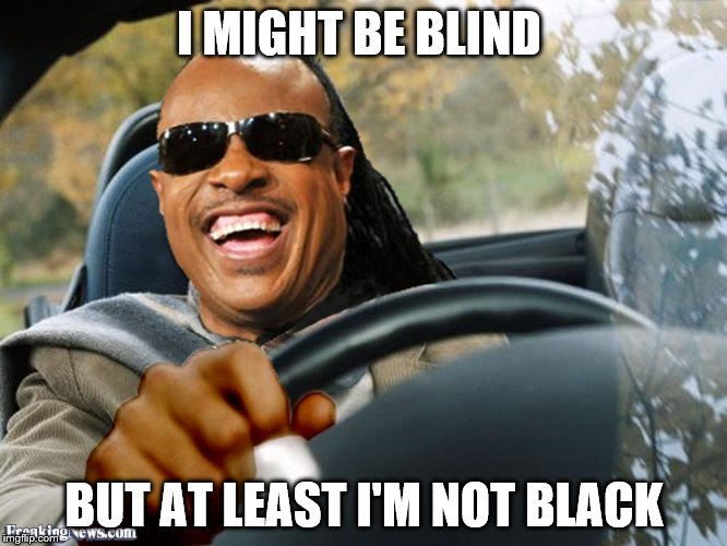 Stevie Wonder Driving | I MIGHT BE BLIND BUT AT LEAST I'M NOT BLACK | image tagged in stevie wonder driving | made w/ Imgflip meme maker