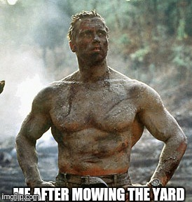 Predator Meme | ME AFTER MOWING THE YARD | image tagged in memes,predator | made w/ Imgflip meme maker