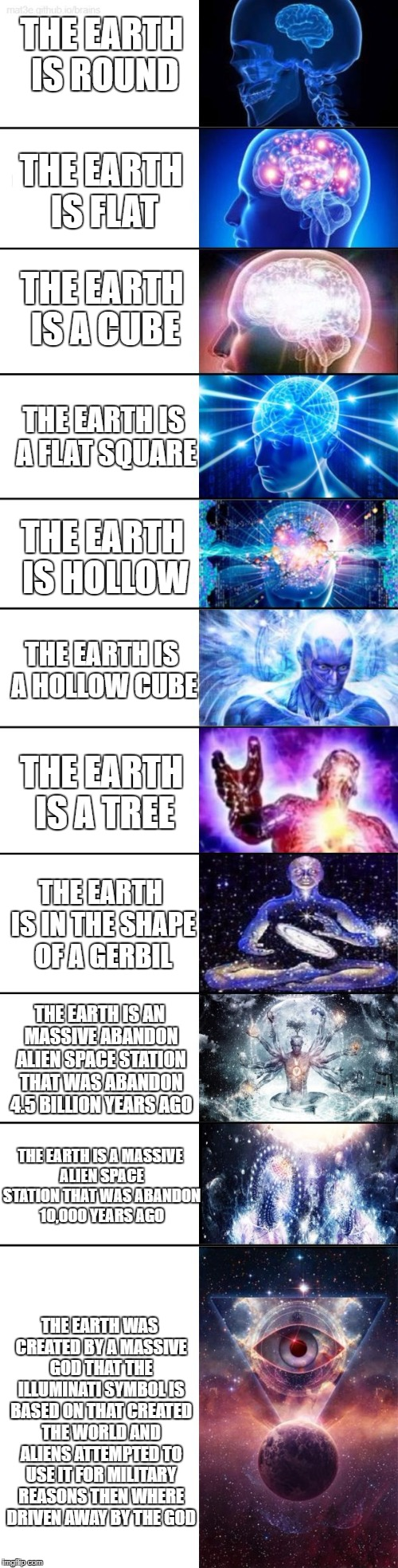 Extended Expanding Brain |  THE EARTH IS ROUND; THE EARTH IS FLAT; THE EARTH IS A CUBE; THE EARTH IS A FLAT SQUARE; THE EARTH IS HOLLOW; THE EARTH IS A HOLLOW CUBE; THE EARTH IS A TREE; THE EARTH IS IN THE SHAPE OF A GERBIL; THE EARTH IS AN MASSIVE ABANDON ALIEN SPACE STATION THAT WAS ABANDON 4.5 BILLION YEARS AGO; THE EARTH IS A MASSIVE ALIEN SPACE STATION THAT WAS ABANDON 10,000 YEARS AGO; THE EARTH WAS CREATED BY A MASSIVE GOD THAT THE ILLUMINATI SYMBOL IS BASED ON THAT CREATED THE WORLD AND ALIENS ATTEMPTED TO USE IT FOR MILITARY REASONS THEN WHERE DRIVEN AWAY BY THE GOD | image tagged in extended expanding brain | made w/ Imgflip meme maker