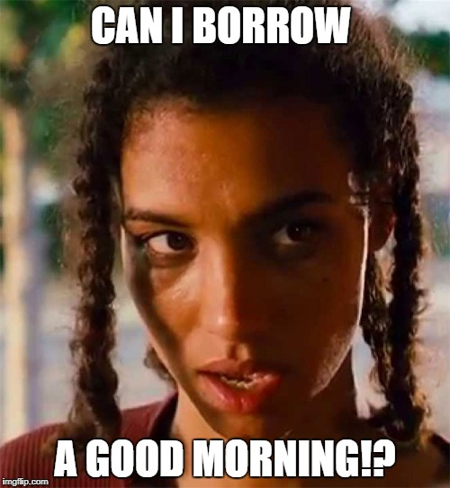 CAN I BORROW A GOOD MORNING!? | image tagged in bye felicia | made w/ Imgflip meme maker