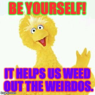 Be yourself! | BE YOURSELF! IT HELPS US WEED OUT THE WEIRDOS. | image tagged in memes,be yourself | made w/ Imgflip meme maker