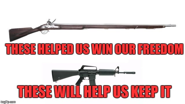 freedom | THESE HELPED US WIN OUR FREEDOM THESE WILL HELP US KEEP IT | image tagged in gun,ar-15 | made w/ Imgflip meme maker