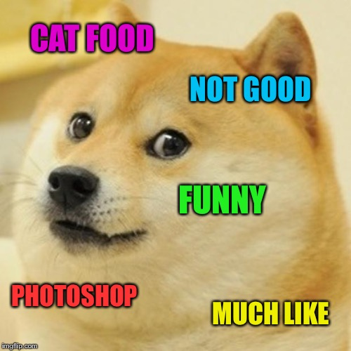 Doge Meme | CAT FOOD NOT GOOD FUNNY PHOTOSHOP MUCH LIKE | image tagged in memes,doge | made w/ Imgflip meme maker