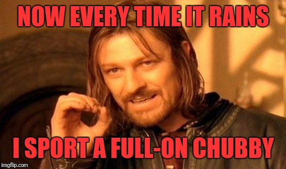 One Does Not Simply Meme | NOW EVERY TIME IT RAINS I SPORT A FULL-ON CHUBBY | image tagged in memes,one does not simply | made w/ Imgflip meme maker