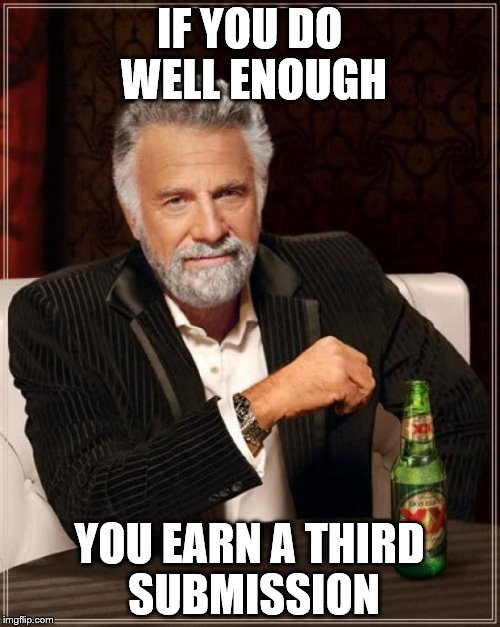The Most Interesting Man In The World Meme | IF YOU DO WELL ENOUGH YOU EARN A THIRD SUBMISSION | image tagged in memes,the most interesting man in the world | made w/ Imgflip meme maker