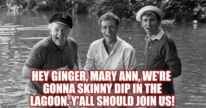 Gilligan's Island Week March 5th-12th A DrSarcasm Event | HEY GINGER, MARY ANN, WE'RE GONNA SKINNY DIP IN THE LAGOON. Y'ALL SHOULD JOIN US! | image tagged in jbmemegeek,gilligan's island,gilligans island week,memes,ginger | made w/ Imgflip meme maker