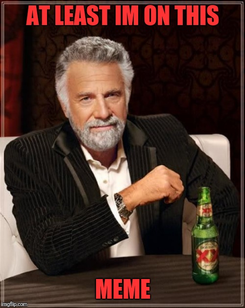 The Most Interesting Man In The World Meme | AT LEAST IM ON THIS MEME | image tagged in memes,the most interesting man in the world | made w/ Imgflip meme maker