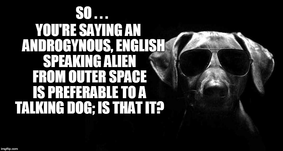 YOU'RE SAYING AN    ANDROGYNOUS, ENGLISH SPEAKING ALIEN FROM OUTER SPACE IS PREFERABLE TO A TALKING DOG; IS THAT IT? SO . . . | made w/ Imgflip meme maker