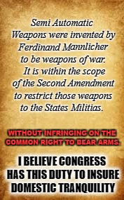 Semi Automatic Weapons were invented by Ferdinand Mannlicher to be weapons of war.  It is within the scope of the Second Amendment to restri | image tagged in parchment | made w/ Imgflip meme maker