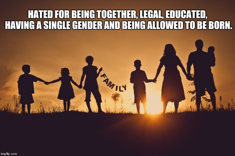 Family | HATED FOR BEING TOGETHER, LEGAL, EDUCATED, HAVING A SINGLE GENDER AND BEING ALLOWED TO BE BORN. | image tagged in family | made w/ Imgflip meme maker