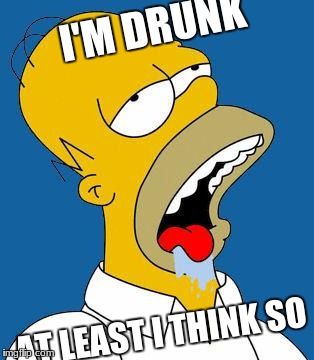Homer Drooling | I'M DRUNK AT LEAST I THINK SO | image tagged in homer drooling | made w/ Imgflip meme maker