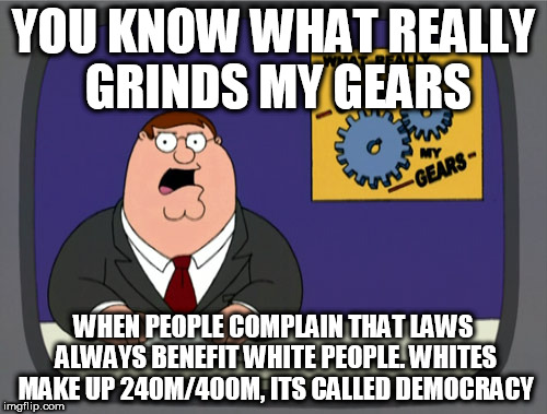 Peter Griffin News Meme | YOU KNOW WHAT REALLY GRINDS MY GEARS WHEN PEOPLE COMPLAIN THAT LAWS ALWAYS BENEFIT WHITE PEOPLE. WHITES MAKE UP 240M/400M, ITS CALLED DEMOCR | image tagged in memes,peter griffin news | made w/ Imgflip meme maker