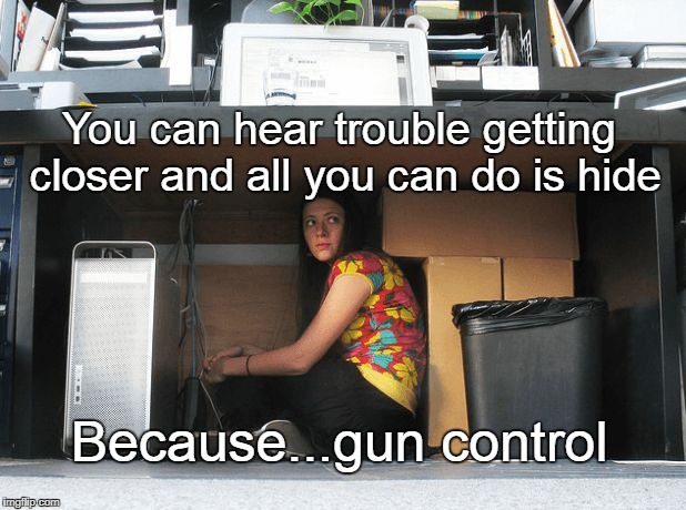 Trouble on the way | You can hear trouble getting closer and all you can do is hide Because...gun control | image tagged in hiding,gun control,gun rights,defenseless,victim | made w/ Imgflip meme maker