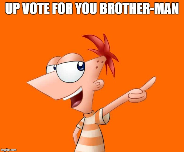 phineas and ferb  | UP VOTE FOR YOU BROTHER-MAN | image tagged in phineas and ferb | made w/ Imgflip meme maker