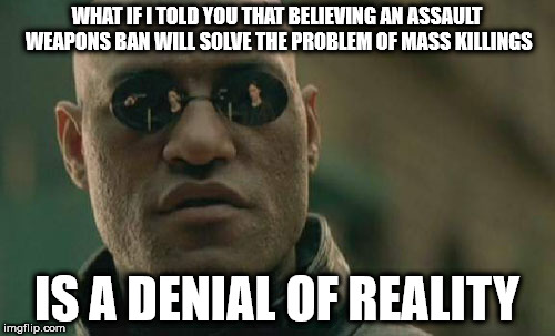 Matrix Morpheus Meme | WHAT IF I TOLD YOU THAT BELIEVING AN ASSAULT WEAPONS BAN WILL SOLVE THE PROBLEM OF MASS KILLINGS IS A DENIAL OF REALITY | image tagged in memes,matrix morpheus | made w/ Imgflip meme maker