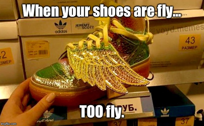 I Wouldn't Wear Them, But You're More Than Welcome To: | When your shoes are fly... TOO fly. | image tagged in memes,shoes,too much | made w/ Imgflip meme maker