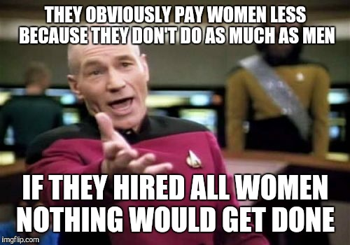 Picard Wtf Meme | THEY OBVIOUSLY PAY WOMEN LESS BECAUSE THEY DON'T DO AS MUCH AS MEN IF THEY HIRED ALL WOMEN NOTHING WOULD GET DONE | image tagged in memes,picard wtf | made w/ Imgflip meme maker
