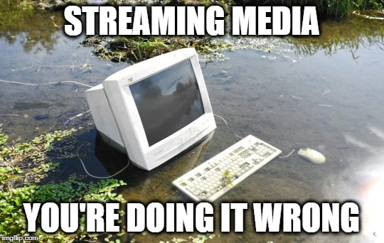 streaming media | STREAMING MEDIA YOU'RE DOING IT WRONG | image tagged in streaming,media | made w/ Imgflip meme maker