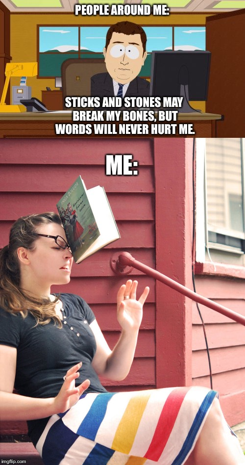 They just don't learn.... | PEOPLE AROUND ME: STICKS AND STONES MAY BREAK MY BONES, BUT WORDS WILL NEVER HURT ME. ME: | image tagged in dictionary,memes | made w/ Imgflip meme maker