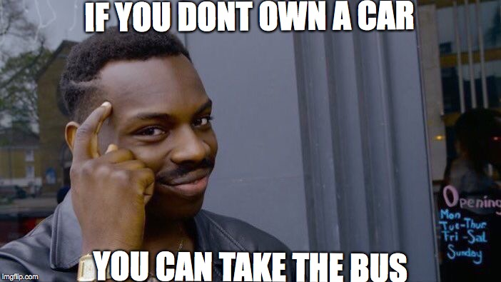 Roll Safe Think About It Meme | IF YOU DONT OWN A CAR YOU CAN TAKE THE BUS | image tagged in memes,roll safe think about it | made w/ Imgflip meme maker