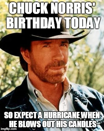 78 and still GREAT. | CHUCK NORRIS' BIRTHDAY TODAY SO EXPECT A HURRICANE WHEN HE BLOWS OUT HIS CANDLES | image tagged in memes,chuck norris,funny,jokes,birthdays | made w/ Imgflip meme maker