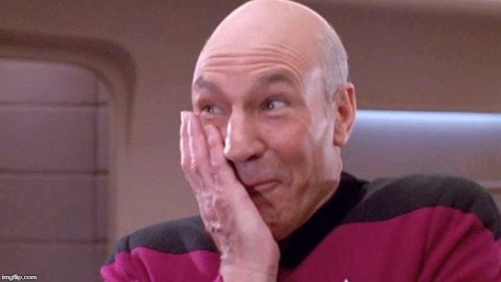picard grin | image tagged in picard grin | made w/ Imgflip meme maker