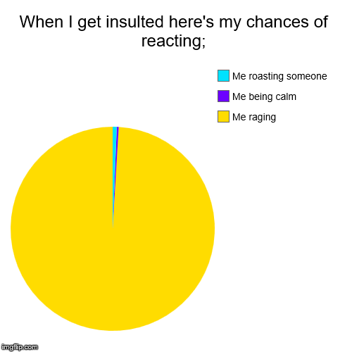 When I get insulted here's my chances of reacting; | Me raging, Me being calm, Me roasting someone | image tagged in funny,pie charts | made w/ Imgflip chart maker