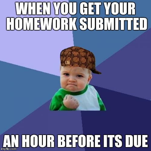 Success Kid Meme | WHEN YOU GET YOUR HOMEWORK SUBMITTED AN HOUR BEFORE ITS DUE | image tagged in memes,success kid,scumbag | made w/ Imgflip meme maker