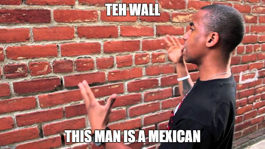 Talking to wall | TEH WALL THIS MAN IS A MEXICAN | image tagged in talking to wall | made w/ Imgflip meme maker