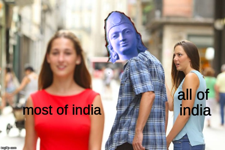 Distracted Boyfriend Meme | most of india all of india | image tagged in memes,distracted boyfriend,history of the world | made w/ Imgflip meme maker