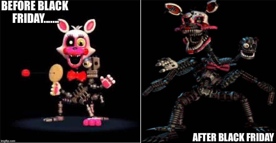 Mangle | BEFORE BLACK FRIDAY....... AFTER BLACK FRIDAY | image tagged in mangle | made w/ Imgflip meme maker