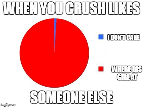 circle graph | WHEN YOU CRUSH LIKES SOMEONE ELSE I DON'T CARE WHERE DIS GIRL AT | image tagged in circle graph | made w/ Imgflip meme maker