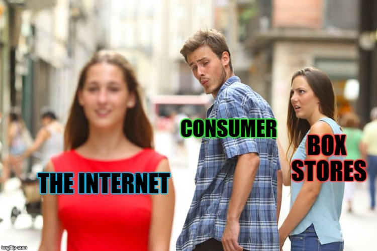 Distracted Boyfriend Meme | THE INTERNET CONSUMER BOX STORES | image tagged in memes,distracted boyfriend | made w/ Imgflip meme maker