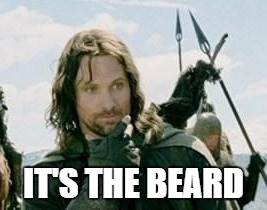 It' the beard | IT'S THE BEARD | image tagged in aragorn,the lord of the rings,beard | made w/ Imgflip meme maker