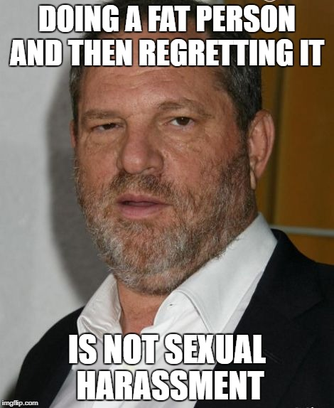 DOING A FAT PERSON AND THEN REGRETTING IT IS NOT SEXUAL HARASSMENT | image tagged in harvey weinstein | made w/ Imgflip meme maker