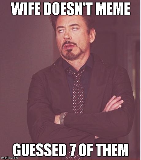 Face You Make Robert Downey Jr Meme | WIFE DOESN'T MEME GUESSED 7 OF THEM | image tagged in memes,face you make robert downey jr | made w/ Imgflip meme maker