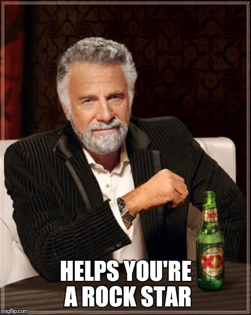 The Most Interesting Man In The World Meme | HELPS YOU'RE A ROCK STAR | image tagged in memes,the most interesting man in the world | made w/ Imgflip meme maker