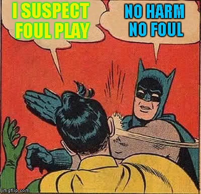 Batman Slapping Robin Meme | I SUSPECT FOUL PLAY NO HARM NO FOUL | image tagged in memes,batman slapping robin | made w/ Imgflip meme maker