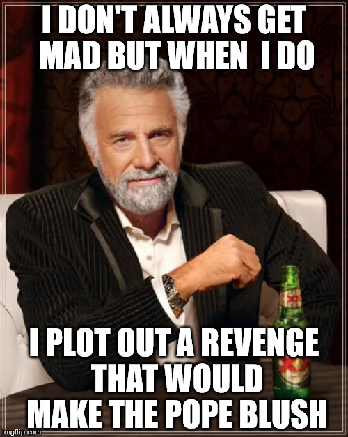 Just stayed tuned, this is when things get interesting | I DON'T ALWAYS GET MAD BUT WHEN  I DO I PLOT OUT A REVENGE THAT WOULD MAKE THE POPE BLUSH | image tagged in memes,the most interesting man in the world,revenge of the nerds,same bat channel | made w/ Imgflip meme maker