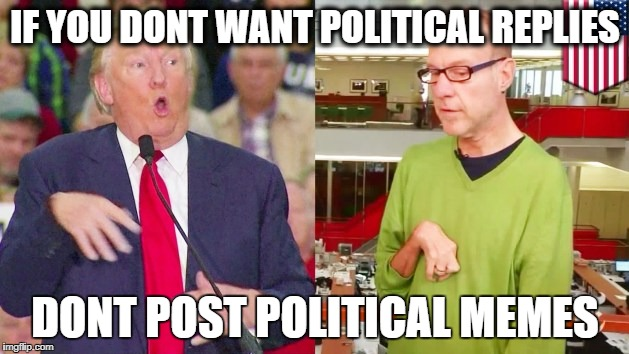 Trump mock | IF YOU DONT WANT POLITICAL REPLIES DONT POST POLITICAL MEMES | image tagged in trump mock | made w/ Imgflip meme maker