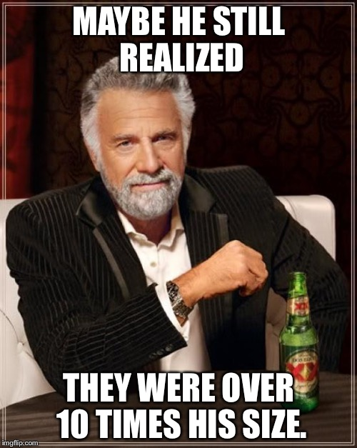 The Most Interesting Man In The World Meme | MAYBE HE STILL REALIZED THEY WERE OVER 10 TIMES HIS SIZE. | image tagged in memes,the most interesting man in the world | made w/ Imgflip meme maker
