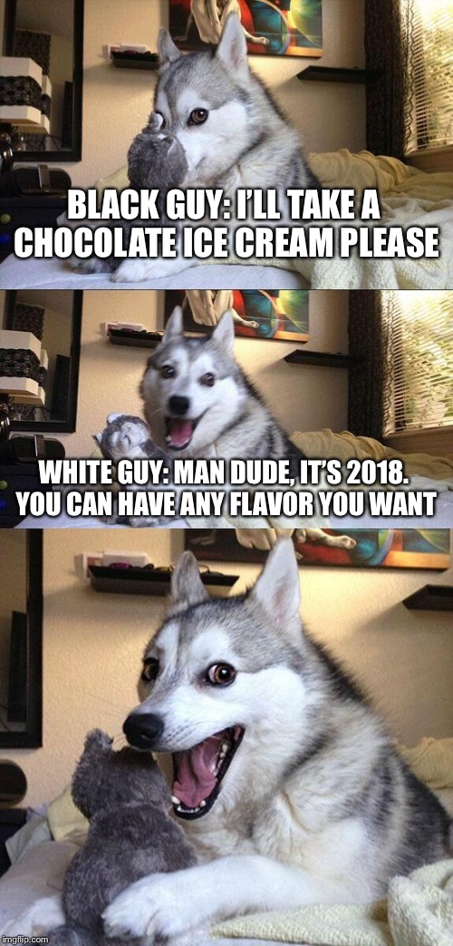Bad Pun Dog Meme | BLACK GUY: I'LL TAKE A CHOCOLATE ICE CREAM PLEASE WHITE GUY: MAN DUDE, IT'S 2018. YOU CAN HAVE ANY FLAVOR YOU WANT | image tagged in memes,bad pun dog | made w/ Imgflip meme maker