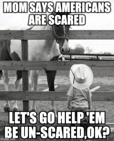 Mom Says | MOM SAYS AMERICANS ARE SCARED LET'S GO HELP 'EM BE UN-SCARED,OK? | image tagged in horses | made w/ Imgflip meme maker