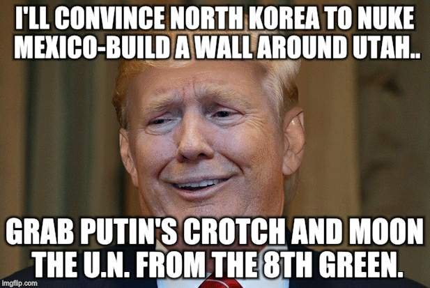 I'll build a wall | I'LL CONVINCE NORTH KOREA TO NUKE MEXICO-BUILD A WALL AROUND UTAH.. GRAB PUTIN'S CROTCH AND MOON THE U.N. FROM THE 8TH GREEN. | image tagged in insanity | made w/ Imgflip meme maker