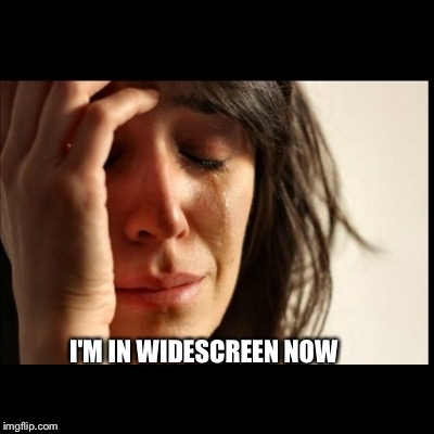 First World Problems, black bars | I'M IN WIDESCREEN NOW | image tagged in first world problems,black bars | made w/ Imgflip meme maker