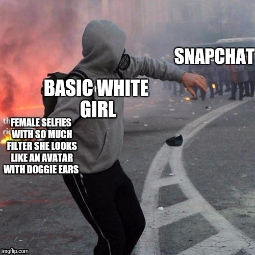 Enough filters already | SNAPCHAT BASIC WHITE GIRL FEMALE SELFIES WITH SO MUCH FILTER SHE LOOKS LIKE AN AVATAR WITH DOGGIE EARS | image tagged in memes,nsfw,funny,here have this | made w/ Imgflip meme maker